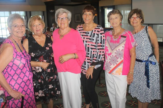 Vicki Turton ,Sue Winje, Lilliana Arceri, Pam Cote, Doris Boston and JoAnn Brandau look forward to a delicious lunch.