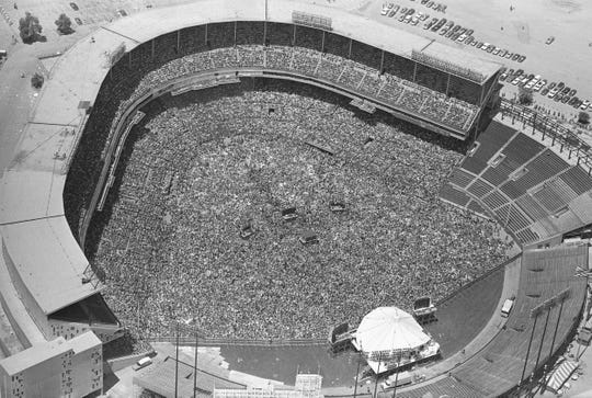 This is how packed Milwaukee County Stadium was for the Rolling Stones concert on June 8, 1975. The stage is at lower right (under the white cover). Remember: No video screens in those days.