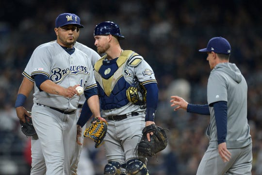 Brewers starter Jhoulys Chacin is removed from the game by manager Craig Counsell during the fifth inning.