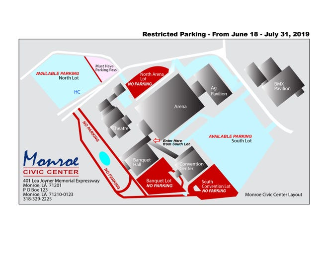 This map shows available and restricted parking at the Monroe Civic Center because of a major repaving project.