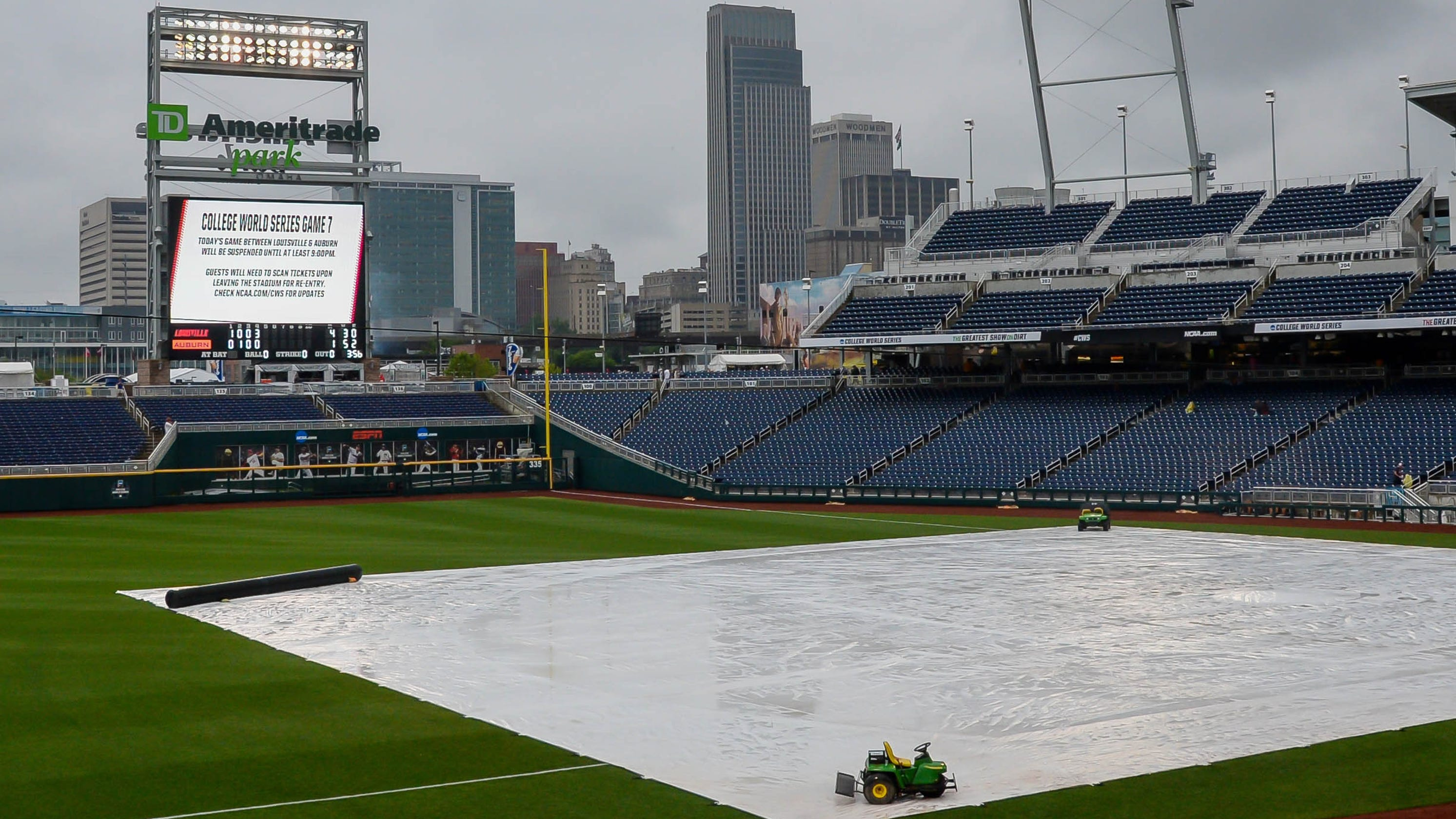 new style 78cb0 13a23 CWS 2019  Auburn vs. Louisville baseball rain delayed until Wednesday