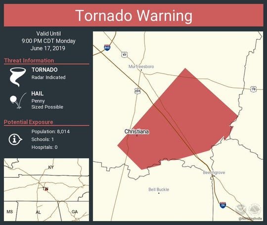 The National Weather Service has issued a tornado warning for southeastern Rutherford County until 9 p.m. Monday.