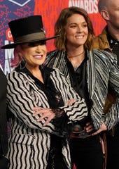 Tanya Tucker, left, and Brandi Carlile arrive for the CMT Music Awards on June 5, 2019 at the Bridgestone Arena in Nashville.