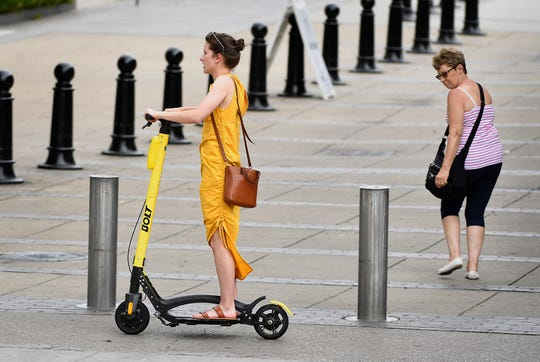 Five scooter companies have sent a joint proposal to Mayor David Briley on improving scooter operations in Nashville, recommending advocacy for bike lanes, free helmets at community centers and limits on scooter fleets. Tuesday, June 18, 2019, in Nashville, Tenn.