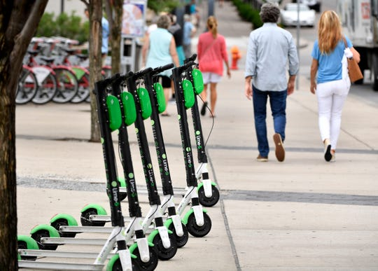 New York lawmakers voted Wednesday to legalize e-scooters and e-bikes in New York, such as these shown Tuesday, June 18, 2019, in Nashville, Tenn.