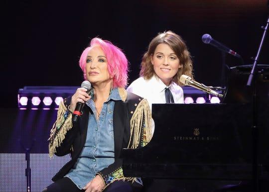 Tanya Tucker, left, and Brandi Carlile perform at Loretta Lynn's 87th Birthday Tribute at Bridgestone Arena on April 1, 2019 in Nashville.