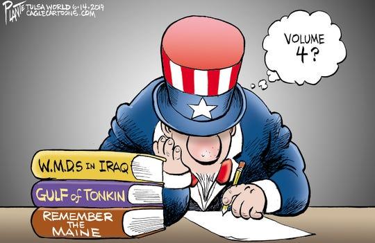 Bruce Plante Cartoon: Iran, President Donald J. Trump, Security Advisor John Bolton, ,Japanese tanke rattack