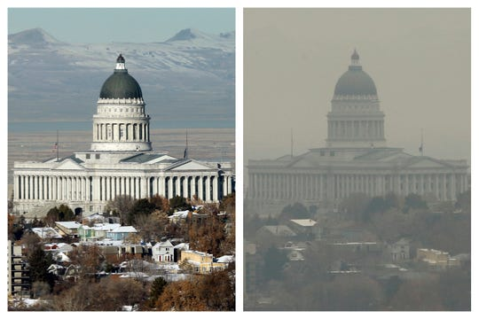 This combination of Dec. 13 and 17, 2018 photos shows the Utah State Capitol during clear and an inversion day in Salt Lake City. Inversions hover over Salt Lake City as cold, stagnant air settles in the bowl-shaped mountain basins, trapping tailpipe and other emissions that have no way of escaping to create a brown, murky haze the engulfs the metro area. After decades of getting ever cleaner, America's air quality seems to be stagnating. In 2017 and 2018, the nation had more polluted air days than just a few years earlier, federal data shows. While it remains unclear whether this is the beginning of a trend, health experts say it's a troubling development.