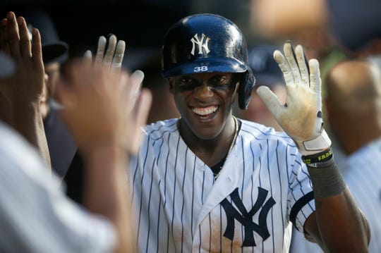 New York Yankees left fielder Cameron Maybin (38) celebrates in the dugout after hitting a home run against the Tampa Bay Rays in the fifth inning at Yankee Stadium.