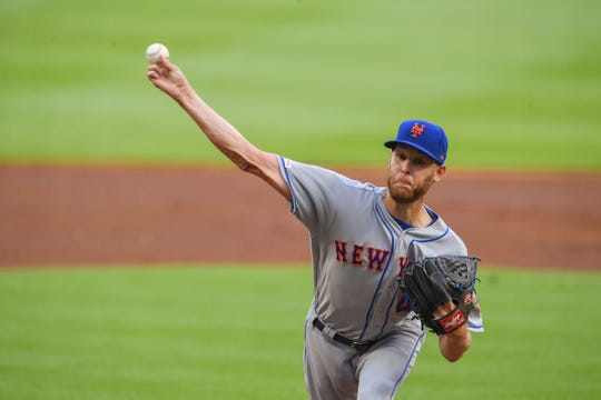 New York Mets starting pitcher Zack Wheeler (45) pitches against the Atlanta Braves during the first inning at SunTrust Park.