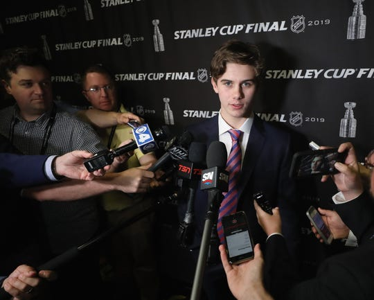 National Hockey League prospect Jack Hughes speaks with the media at Enterprise Center on June 3, 2019 in St Louis, Missouri.