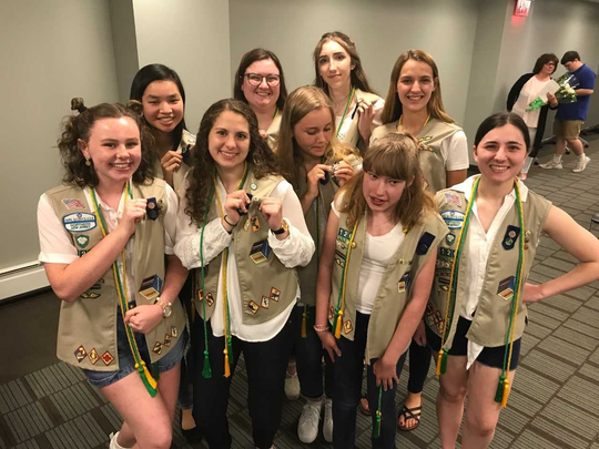 Nine Wyckoff seniors show off Girl Scout Gold Awards received during ceremonies Monday.