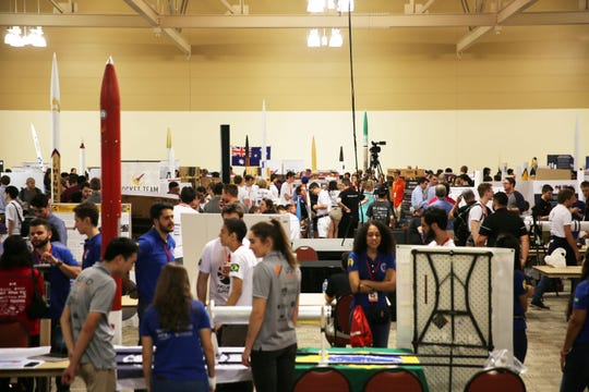 The Las Cruces Convention Center was filled with excitement Tuesday June 19, 2019, as teams presented their rockets on the first day of the Spaceport America Cup, Tuesday June 18, 2019.
