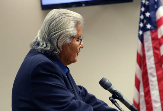 Wallace Charley addresses the San Juan County Commission, Monday, June 17, 2019, during a special meeting in Aztec.
