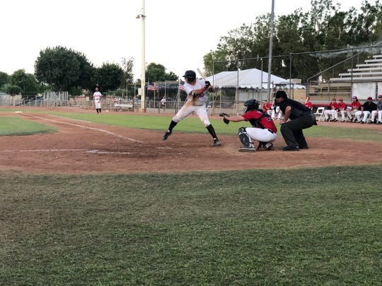Austin Bull bats for the Palm Springs Power on Saturday, June 15 at Palm Springs Stadium.