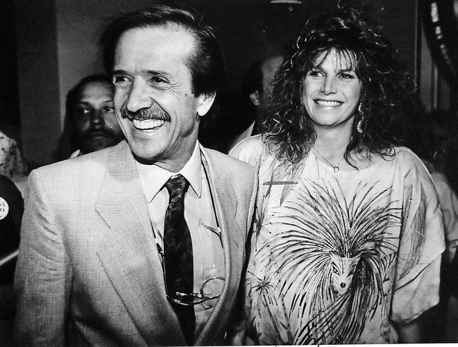 Sonny Bono and Mary Bono on election night in 1988.