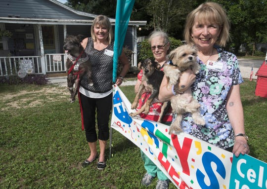 From left, Marlene Kinkead, Patty Cohagan and Pamela Julin-Bell stand outside the Pensacola Hotel for Dogs and Cats. The organization is celebrating 10 years of helping animals in the community.