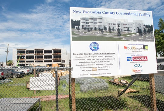 Construction continues earlier this month on the new Escambia County Correctional Facility in Pensacola.