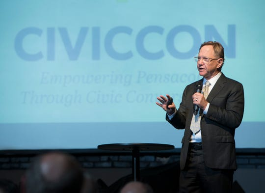 Quint Studer speaks June 17 during CivicCon at The REX Theatre in downtown Pensacola.