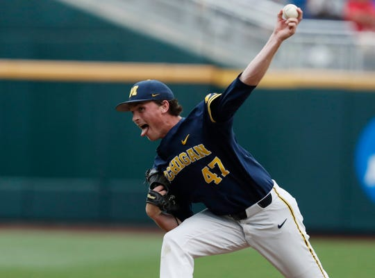 Michigan Wolverines pitcher Tommy Henry (47) throws in the first inning against the Florida State Seminoles in the 2019 College World Series at TD Ameritrade Park.