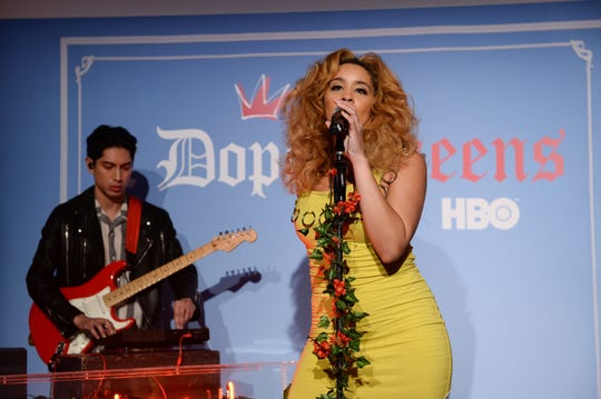 "Lucas Goodman and Jillian Hervey of Lion Babe perform at HBO's ""2 Dope Queens"" Dope Beauty Bar at Studio 525 on February 01, 2019 in New York City."