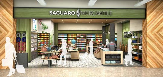 Rendering of the new Saguaro Mercantile, a desert themed retail option located near the courtyard in the Mesa Gateway Airport. It will feature goods crafted by local artists and will offer events in the outdoor space celebrating their work.