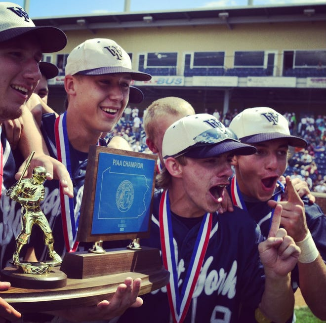 Players on the 2013 West York High School baseball team celebrate after winning the PIAA Class 3-A state championship. That was the second of two straight state championships for West York.