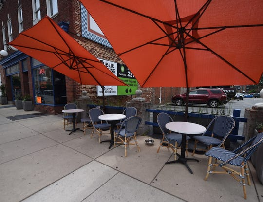 Outdoor seating at The Left Bank in downtown York. Restaurants will begin to resume outdoor dining on Friday, June 5 as York County moves into the yellow phase of coronavirus recovery.