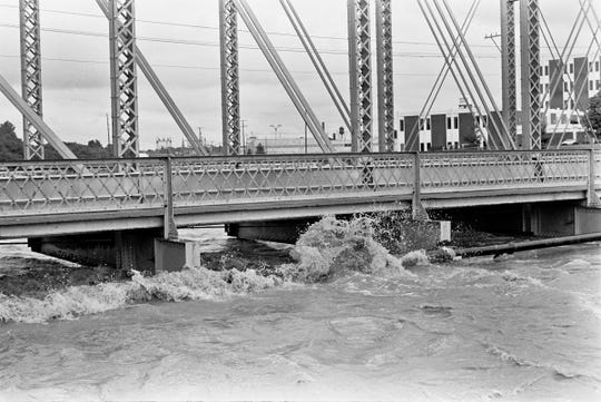 This photo shows high water lapping at the Richland Avenue bridge in York during Tropical Storm Agnes in June 1972.