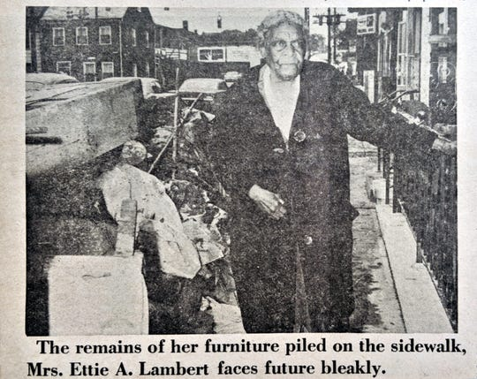 The caption from this 1972 photo, after Tropical Storm Agnes brought severe flooding to York, read: The remains of her furniture piled on the sidewalk, Mrs. Ettie A. Lambert faces future bleakly.