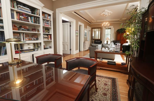 An office area opens up into a living space at Strawberry Castle.