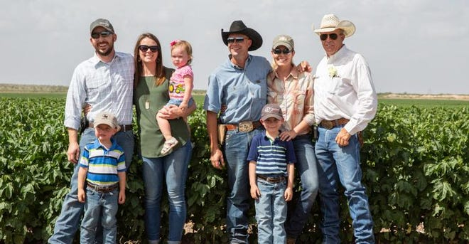 The Smith family of Big Spring, Texas, was chosen by Wrangler to produce the cotton for the company's Texas Jean collection.