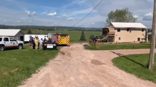 Emergency responders arrived on scene of a house fire around 8:15 a.m. Tuesday at 7327 Mt. Rushmore Road in Pennington County after a passerby reported flames coming from the residence