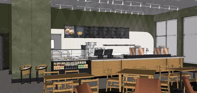 Rendering for Sioux Falls' next Starbucks location, heading for the indoor pool space at the Hilton Garden Inn-Downtown