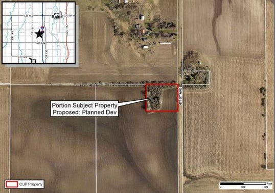 Plans for the proposed wedding barn four miles south of Baltic.