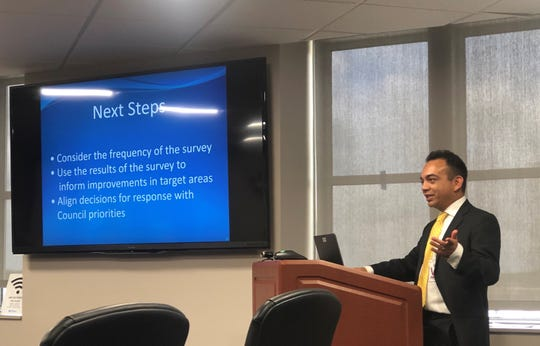 ETC Institute researcher Jason Morado speaks to the Springfield City Council about the results of a citizen satisfaction survey on Tuesday. Morado highlighted several encouraging numbers in his presentation, but a deeper dive into the data revealed plenty of concerns.