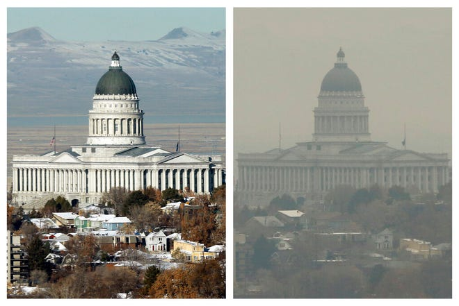 FILE - This combination of Dec. 13 and 17, 2018 photos shows the Utah State Capitol during clear and an inversion day in Salt Lake City. Inversions hover over Salt Lake City as cold, stagnant air settles in the bowl-shaped mountain basins, trapping tailpipe and other emissions that have no way of escaping to create a brown, murky haze the engulfs the metro area. After decades of getting ever cleaner, America's air quality seems to be stagnating. In 2017 and 2018, the nation had more polluted air days than just a few years earlier, federal data shows. While it remains unclear whether this is the beginning of a trend, health experts say it's a troubling development. (AP Photo/Rick Bowmer)