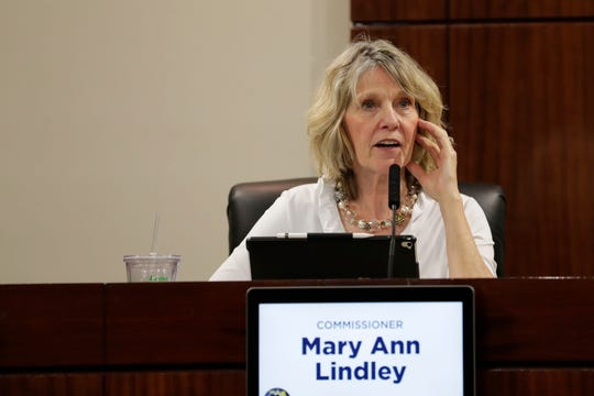 Commissioner Mary Ann Lindley speaks during the County Commission meeting Tuesday, June 18, 2019.