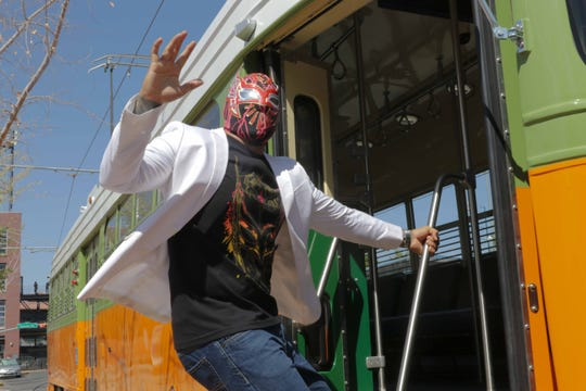 Meet El Paso area luchador Sin Cara on the El Paso streetcar this June.