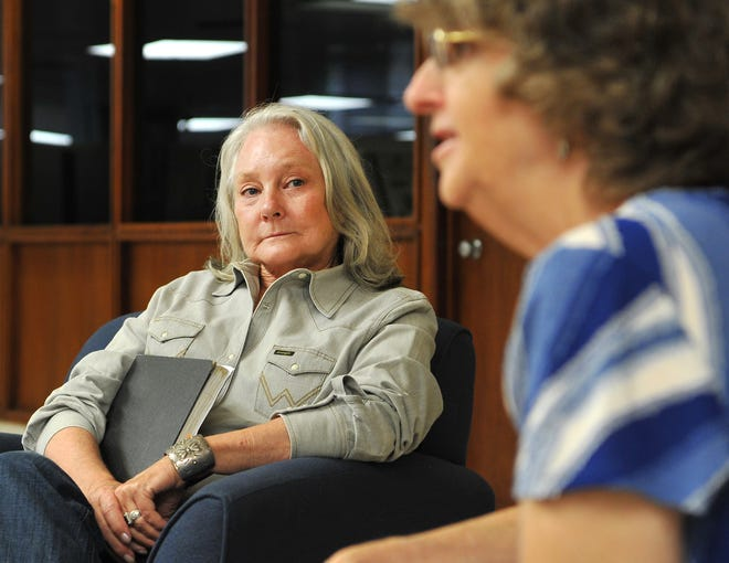 Bridwell & Clark Ranch's Debrah Clark, left, listens as Texas Conservation Alliance, executive director, Janice Bezanson gives an interview to the newspaper about the city's Lake Ringgold project.