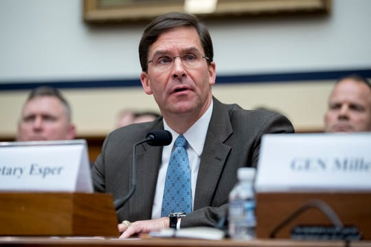 FILE - In this April 2, 2019, file photo, Secretary of the Army Mark Esper speaks during a House Armed Services Committee budget hearing on Capitol Hill in Washington. President Donald Trump on June 18, named Esper as acting Defense Secretary. (AP Photo/Andrew Harnik) ORG XMIT: WX106
