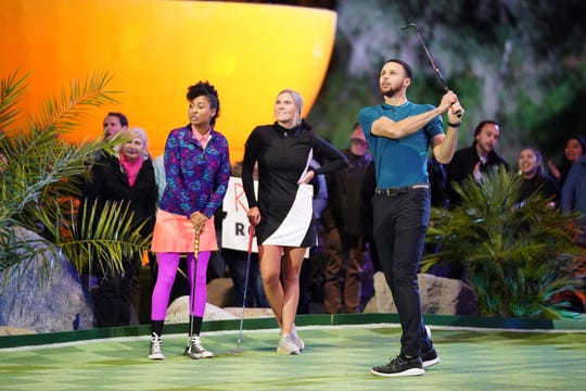 "NBA superstar Stephen Curry, right, serves as executive producer and ""resident golf pro"" on ""Holey Moley,"" a new ABC mini-golf competition that will run Thursdays alongside ""Family Food Fight,"" a cooking competition starring and produced by his wife, Ayesha Curry."