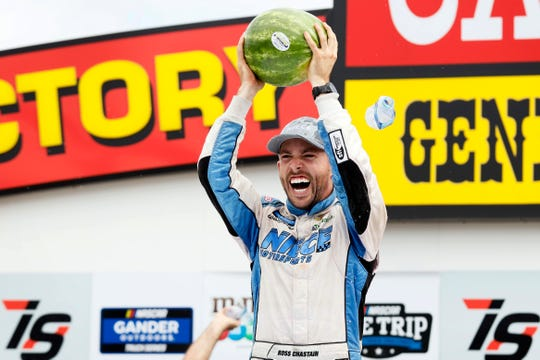 Ross Chastain celebrated his win at Iowa Speedway before NASCAR penalized his team and stripped him of the victory.