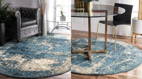 This abstract rug will add a pop of color to any space.