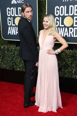 Dax Shepard, left and Kristen Bell at the Golden Globes in January. They started dating in 2007 and married in 2013.