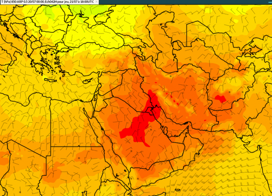 A map shows the extreme heat that hit the Middle East on July 21, 2016, when the temperature hit 129 degrees in Kuwait.
