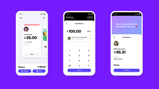 Screenshots of the digital pockets app Calibra.