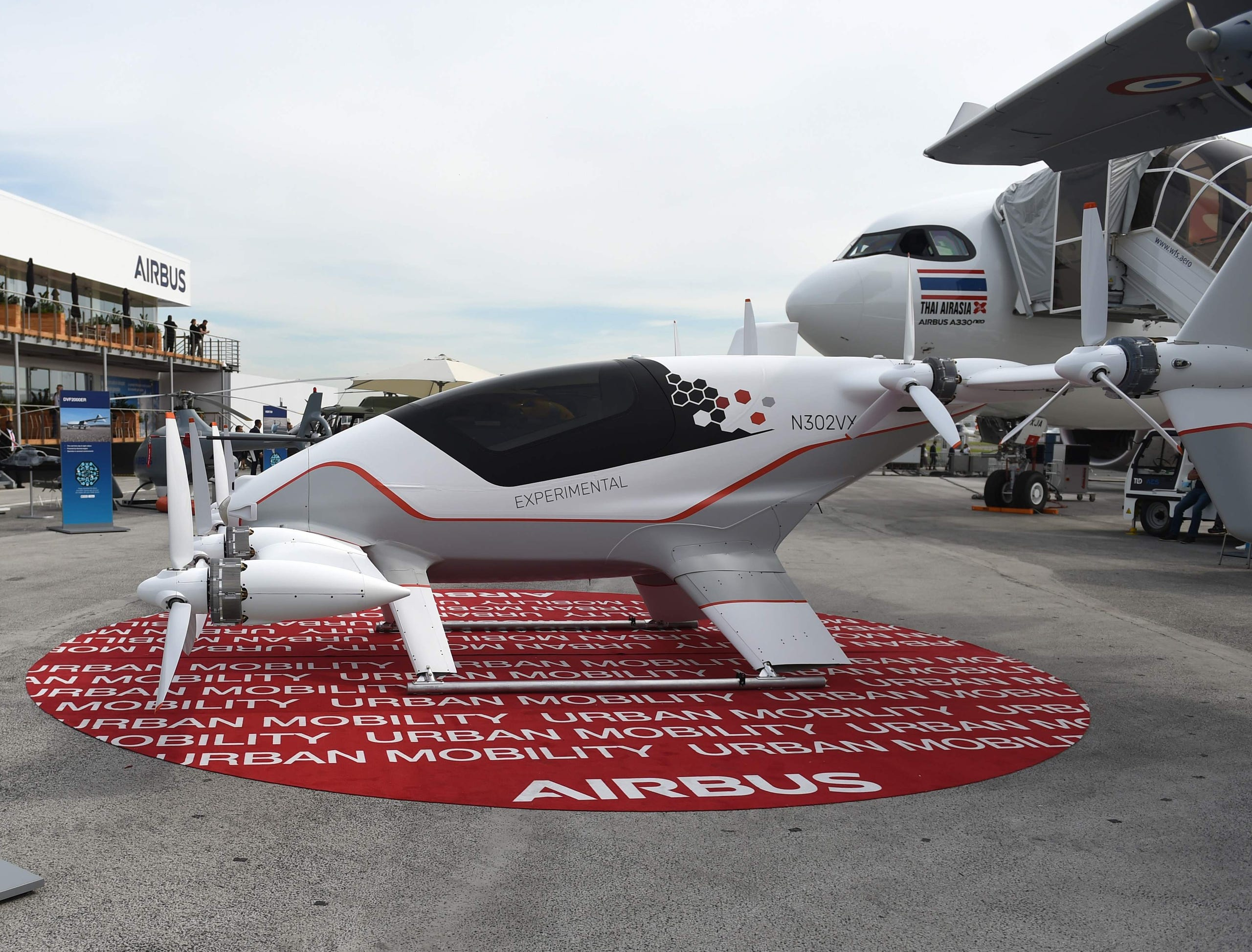 This is the Airbus all-electric, single-seat, tilt-wing vehicle demonstrator Vahana, June 18, 2019 at Le Bourget Airport, near Paris.