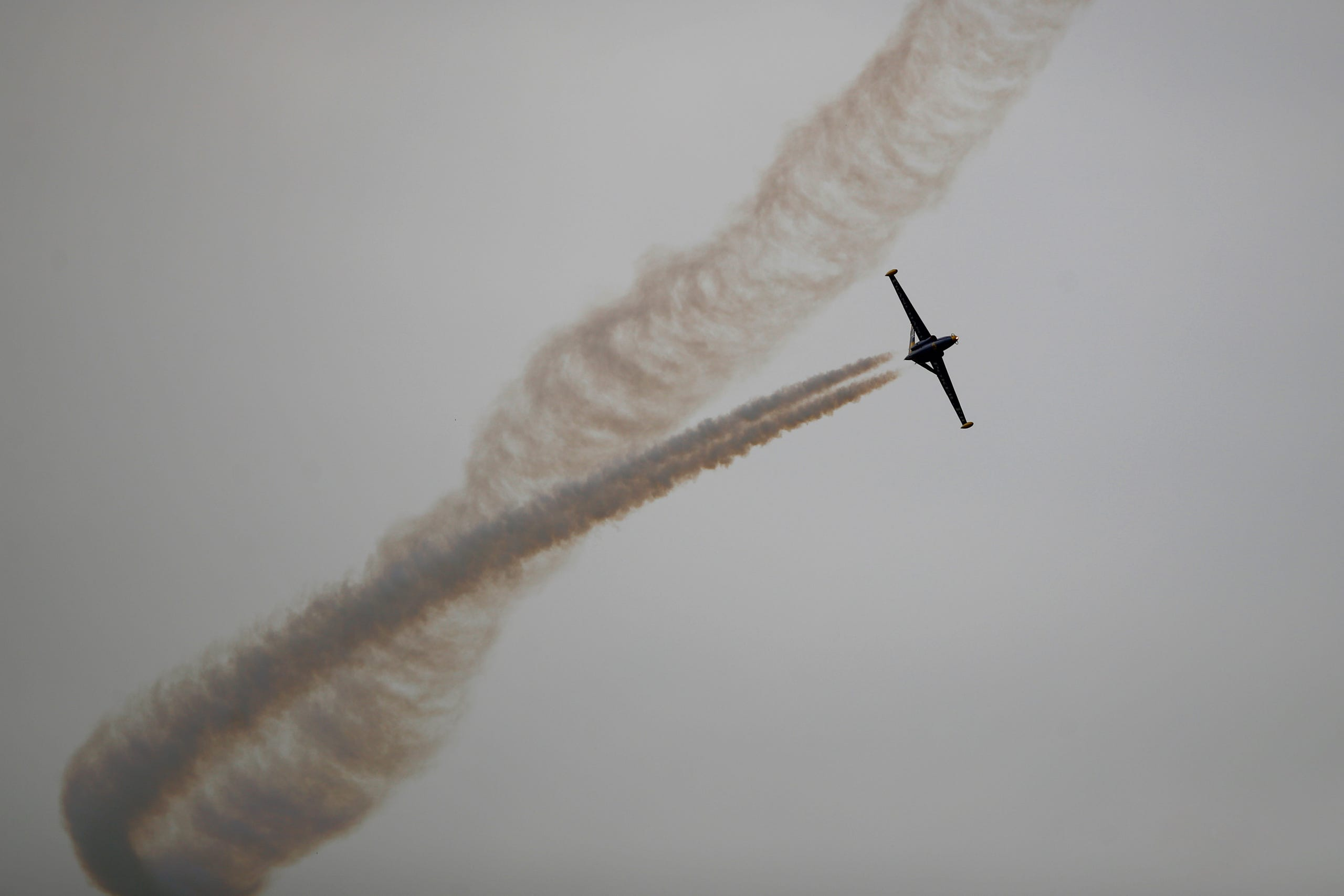 The Fouga Magister performs a demonstration flight at Paris Air Show, in Le Bourget, north east of Paris, France, Tuesday, June 18, 2019. The world's aviation elite are gathering at the Paris Air Show with safety concerns on many minds after two crashes of the popular Boeing 737 Max. (AP Photo/ Francois Mori) ORG XMIT: XFM101