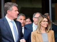 Actress Lori Loughlin exits a courthouse  on April 3 after facing charges for allegedly conspiring to commit mail fraud and other charges in the college admissions scandal.